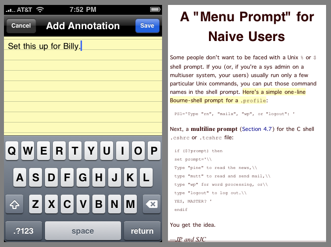 Adding an annotation to a user selection