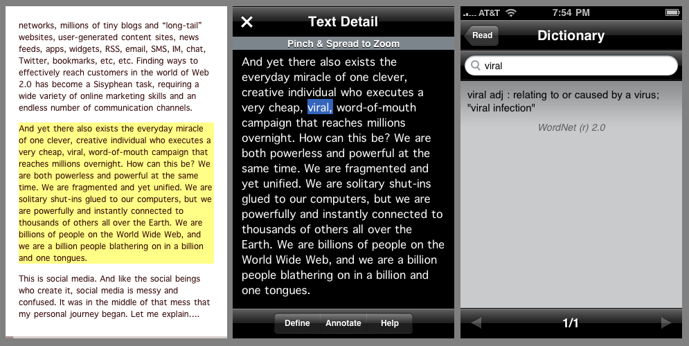 Text with zoom and dictionary lookup using the Text Detail screen