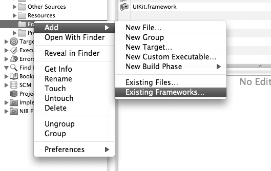 Adding an existing framework in Xcode