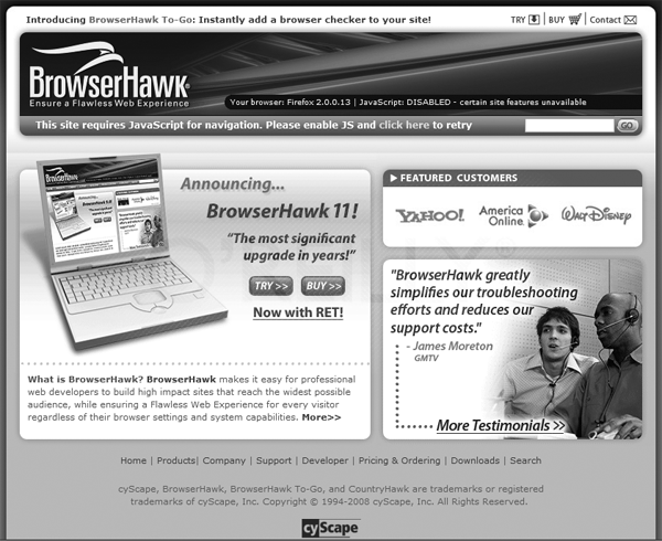 The BrowserHawk home page, which sniffs your browser environment variables