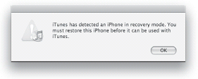iTunes notifying you that it's found a device in recovery mode