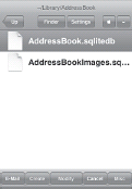 Backing up the Address Book via email with MobileFinder