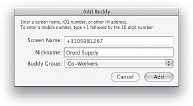 Adding a mobile number in Mac AIM