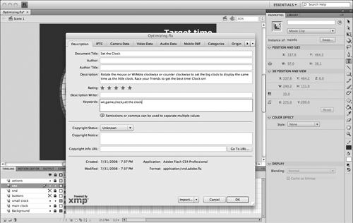 Entering XMP metadata to the file