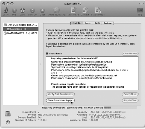 Click your hard drive's name in the left-side list; click the First Aid tab; click Repair Disk Permissions; and then read an article while the Mac checks out your disk. If the program finds anything amiss, you'll see messages like these. Among the text, you may recognize some Unix shorthand for read, write, and execute privileges ().