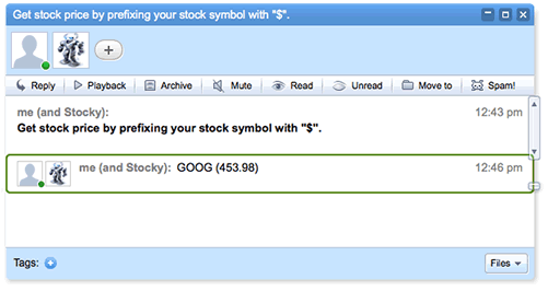 Stocky updated the blip with Google's stock price.