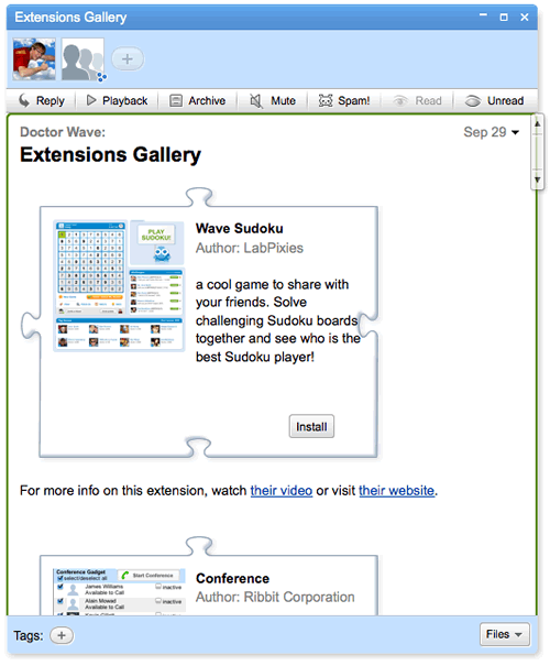 The Extensions Gallery wave displays several gadgets that can be easily installed and added to the conversation pane toolbar.
