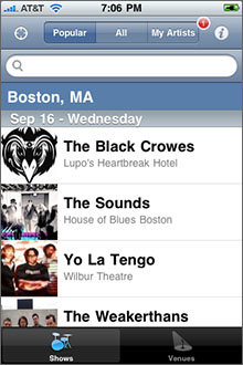 Local Concerts Screenshot