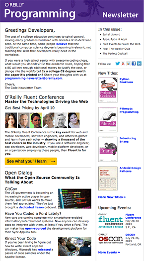 Programming Newsletter Sample