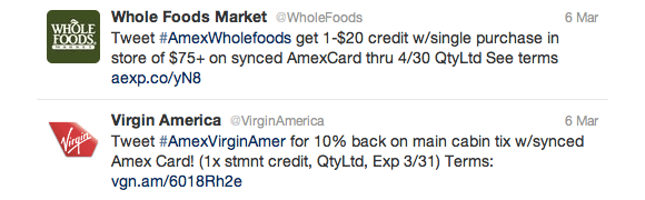 American Express discounts offered through hashtags