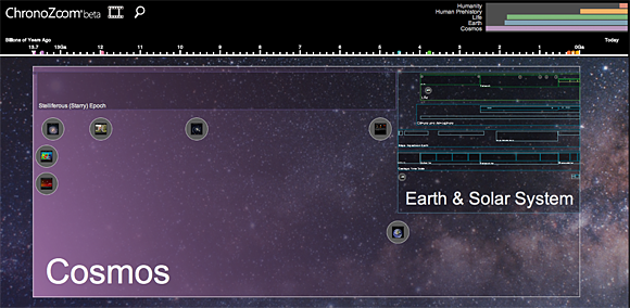 Screenshot from the ChronoZoom timeline tool