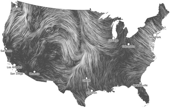Screenshot from U.S. Wind Map visualization