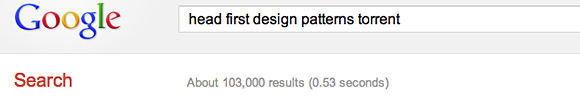Head First Design Patterns Google search results
