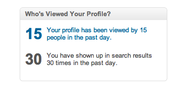 Who Viewed Profile box from LinkedIn