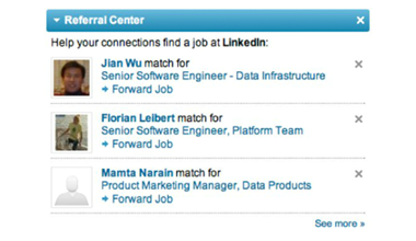 Referral Center example from LinkedIn